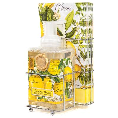 Lemon Basil Foaming Hand Soap and Napkin Set