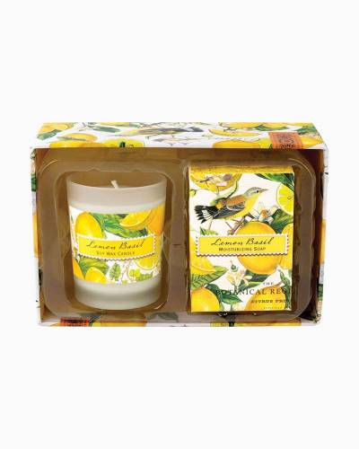 Lemon Basil Candle and Soap Gift Set