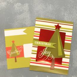 Expressive Design Group Chriastmas Joy Foil Tree Boxed Holiday Cards