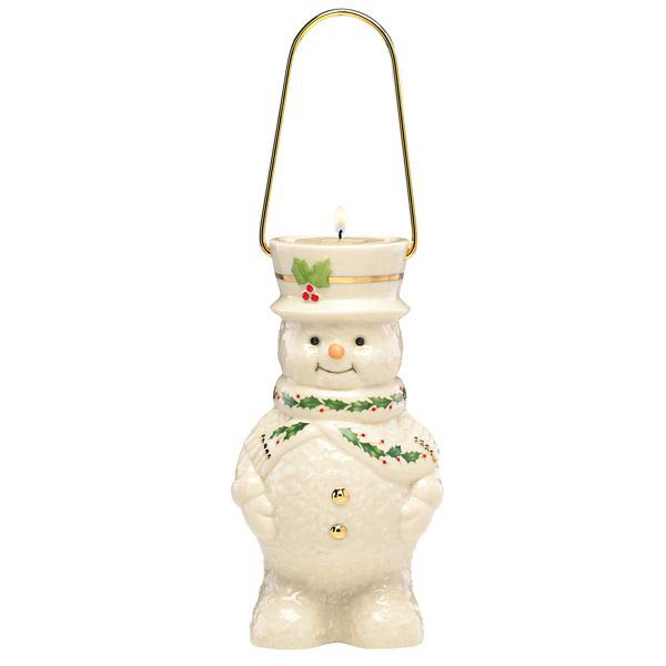 Lenox Happy Holly Days Snowman Lantern Votive Holder and Candles Set