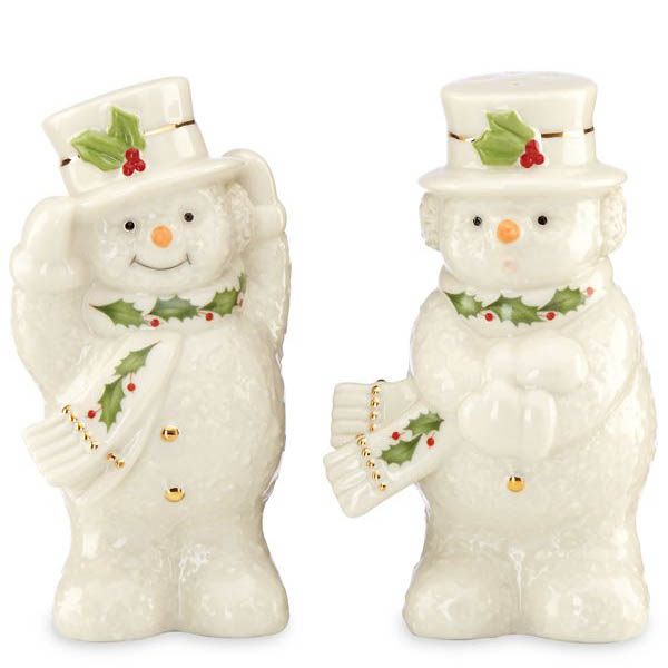 Lenox Happy Holly Days Snowman Salt and Pepper Shakers