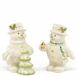 Lenox Happy Holly Days Decorate the Tree Snowman Salt and Pepper Shaker Set