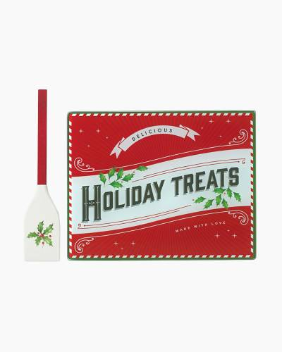 Holiday Treats Glass Prep Board and Spatula Set