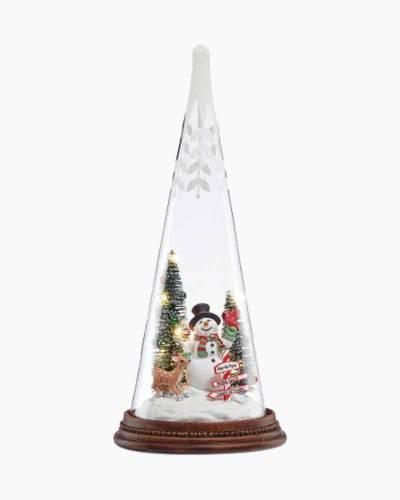 Light-Up Snowman Pals Glass Tree
