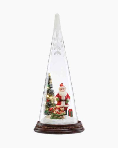 Light Up Santa's Delivery Glass Tree