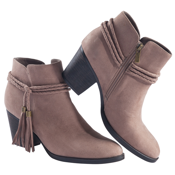 Atlanta Footwear Braided Wrap Tassel Bootie in Taupe