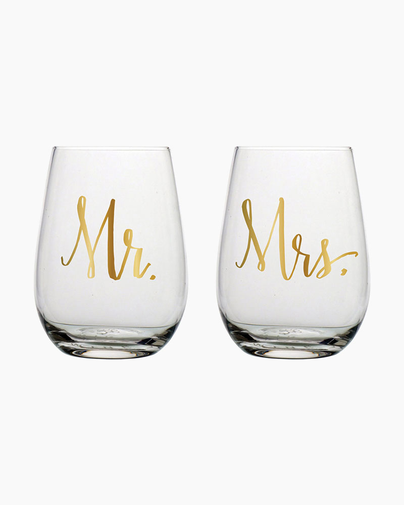 Slant Collections Mr. & Mrs. Stemless Wine Glasses (Set of 2)