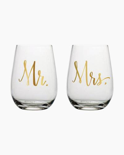 Mr. & Mrs. Stemless Wine Glasses (Set of 2)