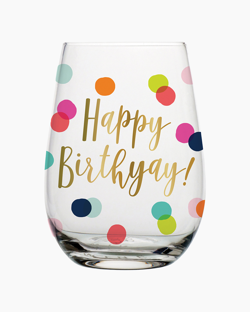 Birthday Dots Stemless Wine Glass
