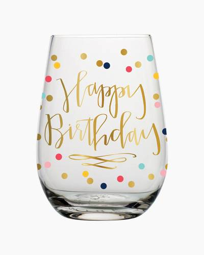 Birthday Confetti Stemless Wine Glass