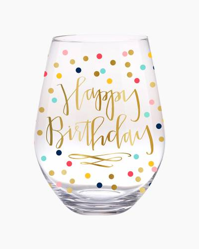 Happy Birthday Confetti Jumbo Stemless Wine Glass