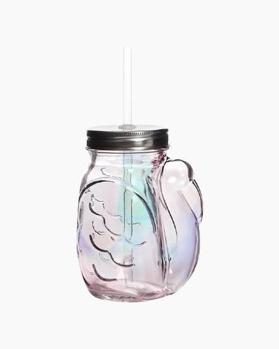 Flamingo Mason Jar Sipper Glass