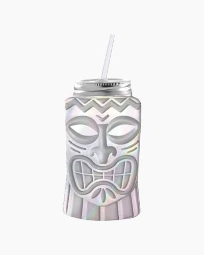 Tiki Mask Mason Jar Sipper Glass