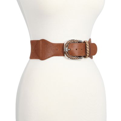 Wide Braided Buckle Stretch Belt
