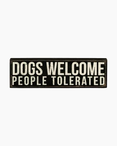 Dogs Welcome Wooden Box Sign