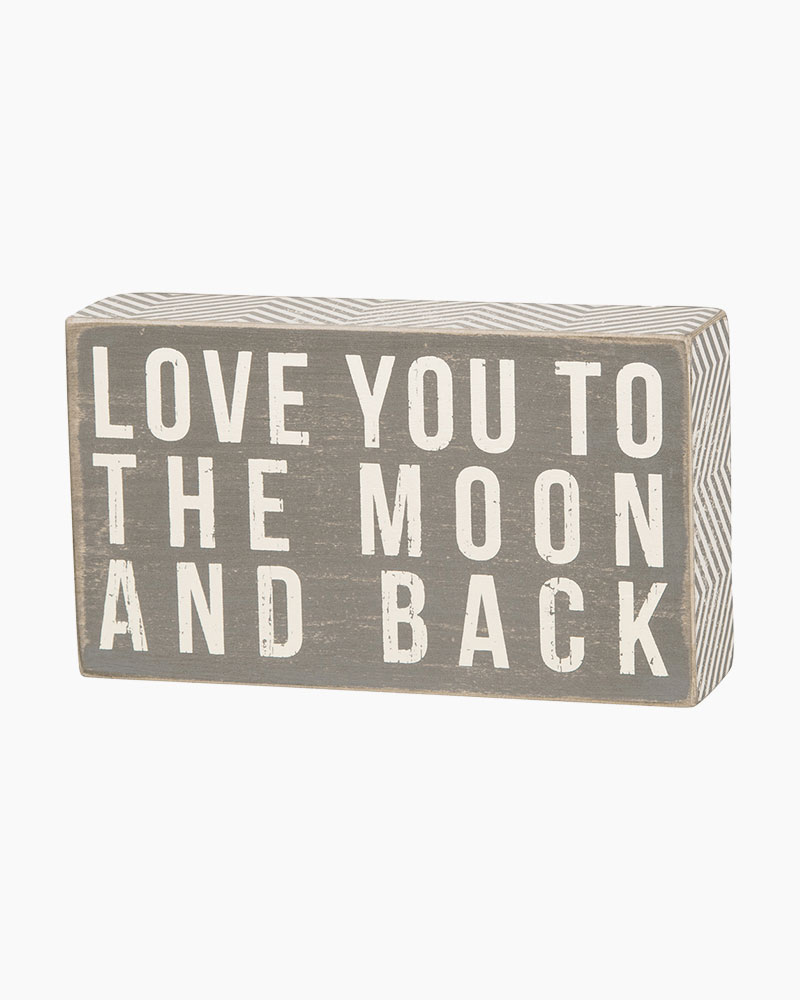 Primitives by Kathy To the Moon Gray Wooden Box Sign