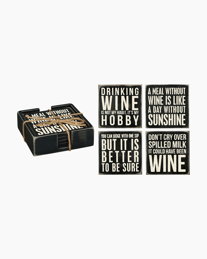 Primitives by Kathy Wine Box Sign Coasters (Set of 4)