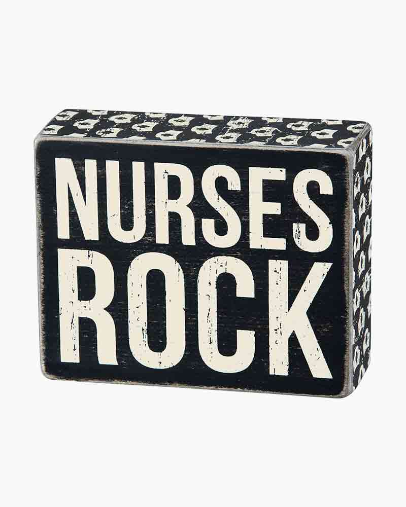 Primitives by Kathy Nurses Rock Wooden Box Sign