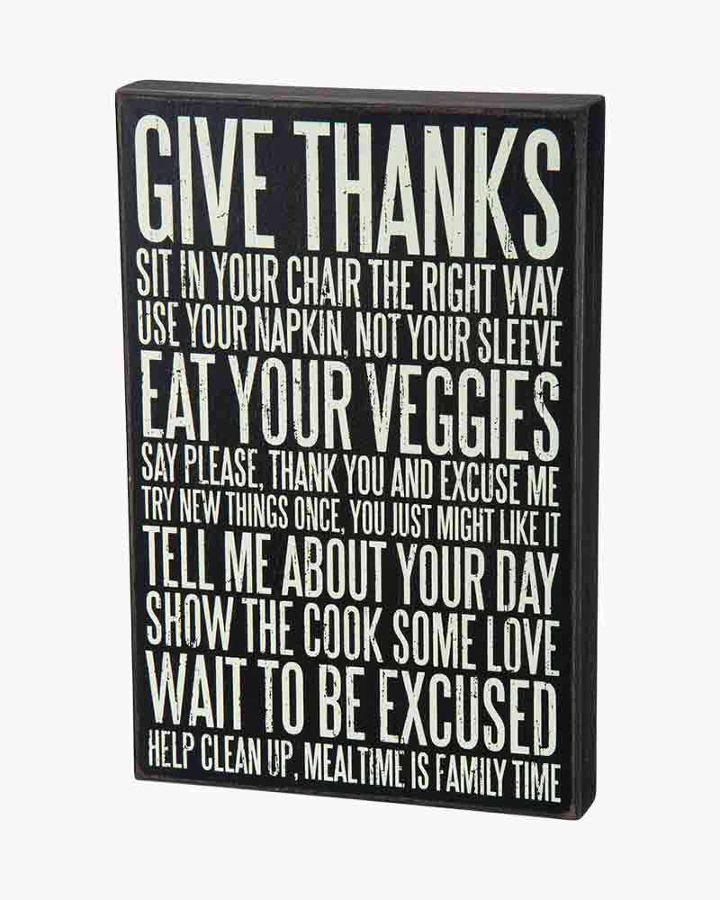 Primitives by Kathy Give Thanks Wooden Box Sign