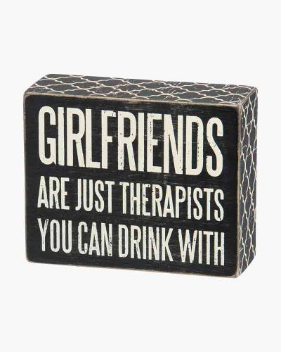 Girlfriends Wooden Box Sign