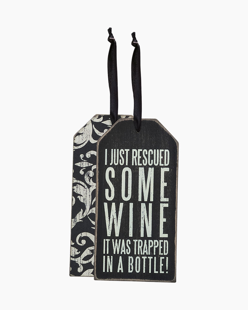 Primitives by Kathy Rescued Wine Wooden Bottle Tag