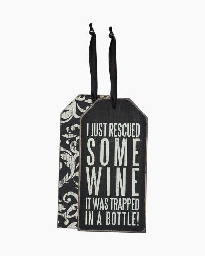 Rescued Wine Wooden Bottle Tag