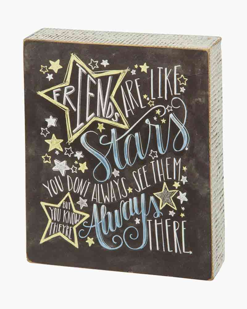 Primitives by Kathy Friends Are Like Stars Chalk Wooden Box Sign