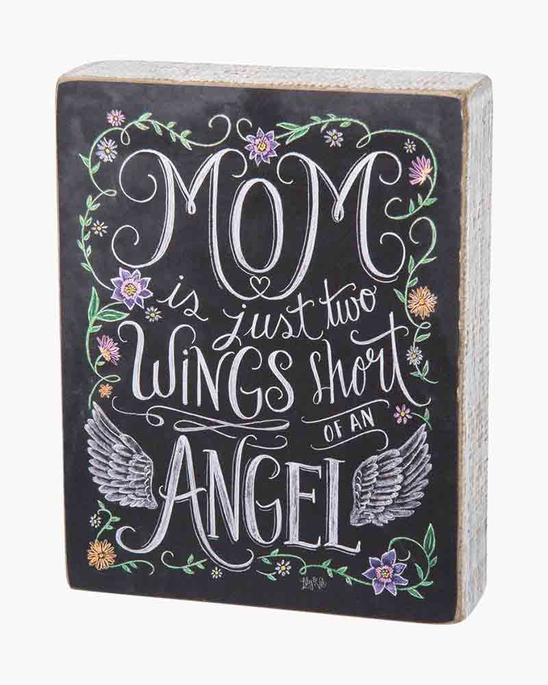 Primitives by Kathy Mom, Two Wings Chalk Wooden Sign