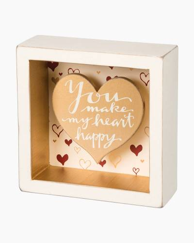 Heart Happy Wooden Box Sign