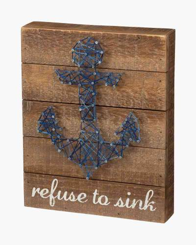 Refuse to Sink String Art Box Sign