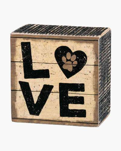 Love Paw Print Wooden Box Sign