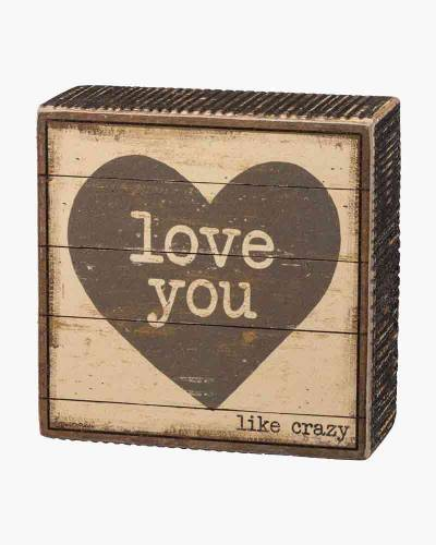 Love You Wooden Box Sign