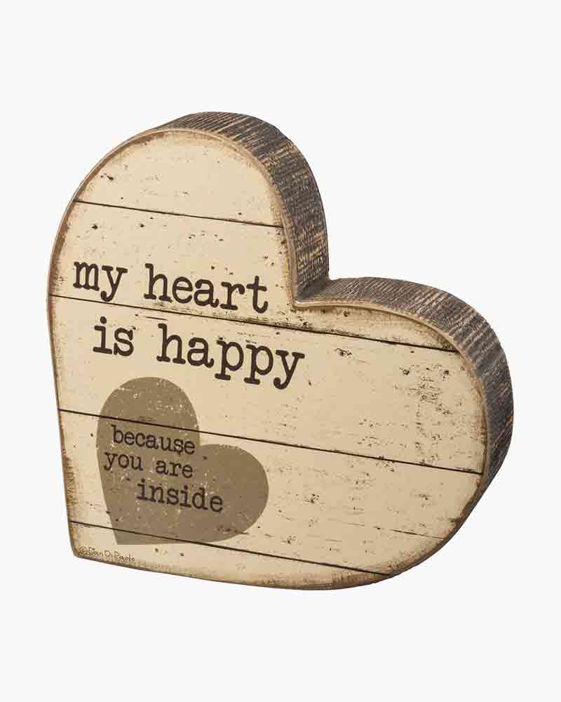 Primitives by Kathy My Heart is Happy Chunky Shape Wooden Sign