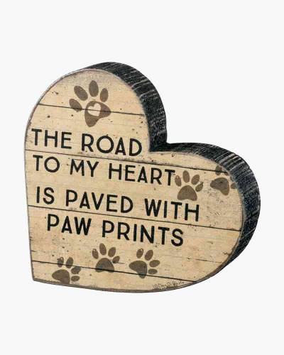 Paved with Paw Prints Chunky Shape Wooden Sign