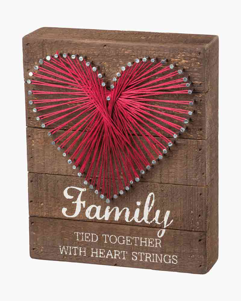Primitives by Kathy Family Heart String Art Wooden Sign