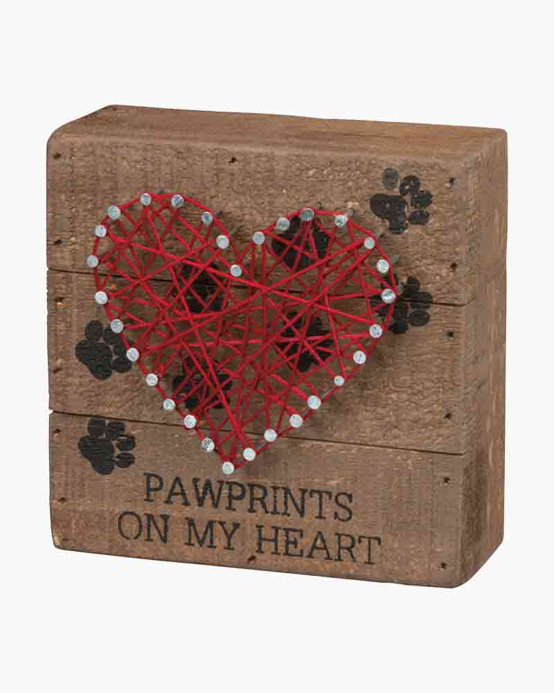 Primitives by Kathy Paw Prints on My Heart String Art Wooden Sign