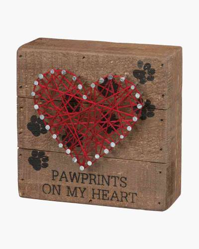 Paw Prints on My Heart String Art Wooden Sign
