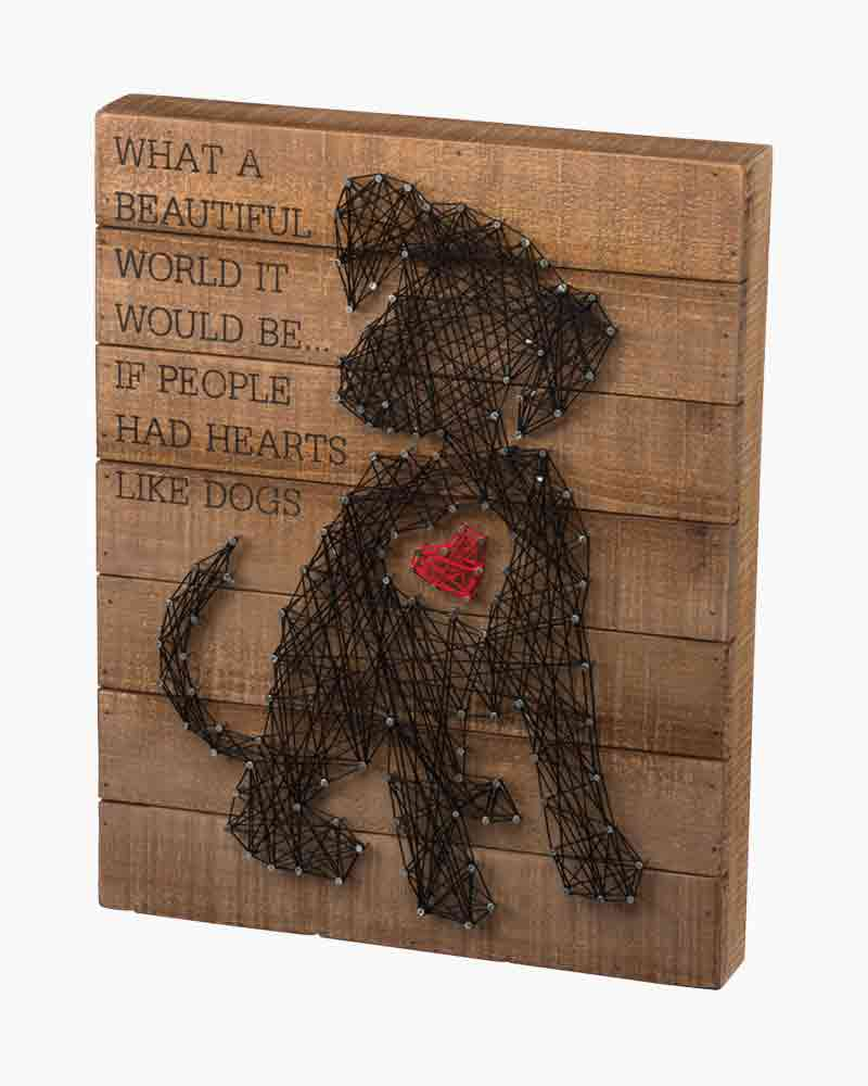 Primitives by Kathy Hearts Like Dogs String Art Wooden Sign