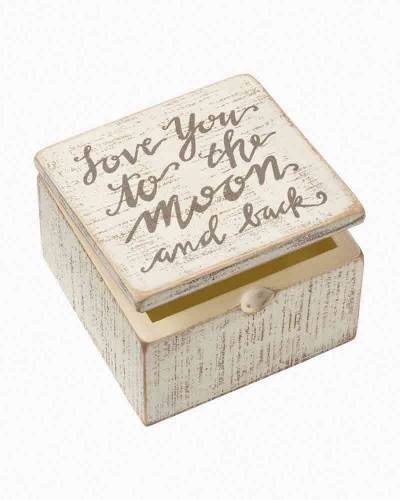 To the Moon and Back Wooden Slat Box