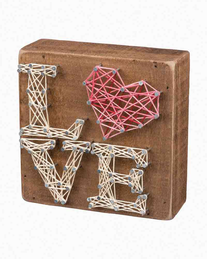 Primitives by Kathy Stacked Love String Art Wooden Sign