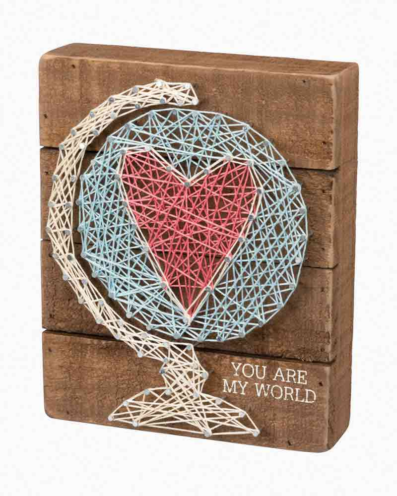 Primitives by Kathy You Are the World String Art Wooden Sign