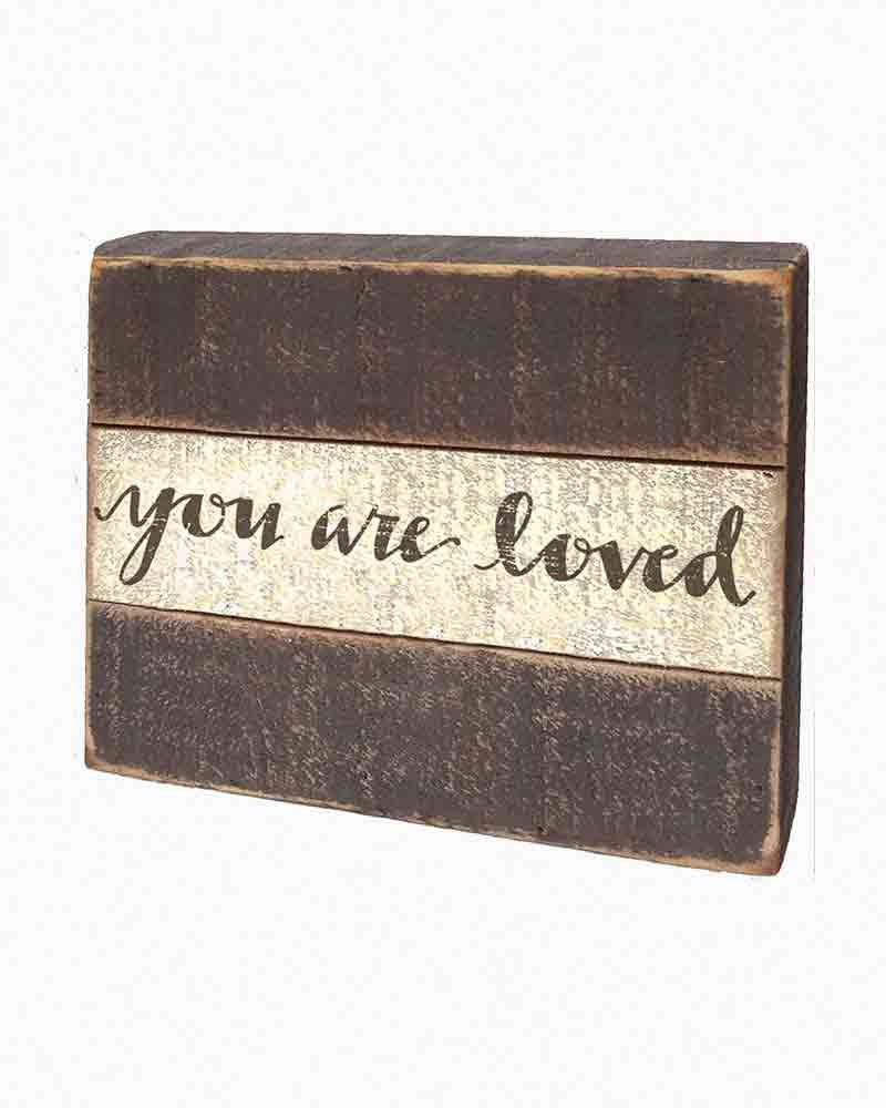 Primitives by Kathy You Are Loved Wooden Slat Box Sign