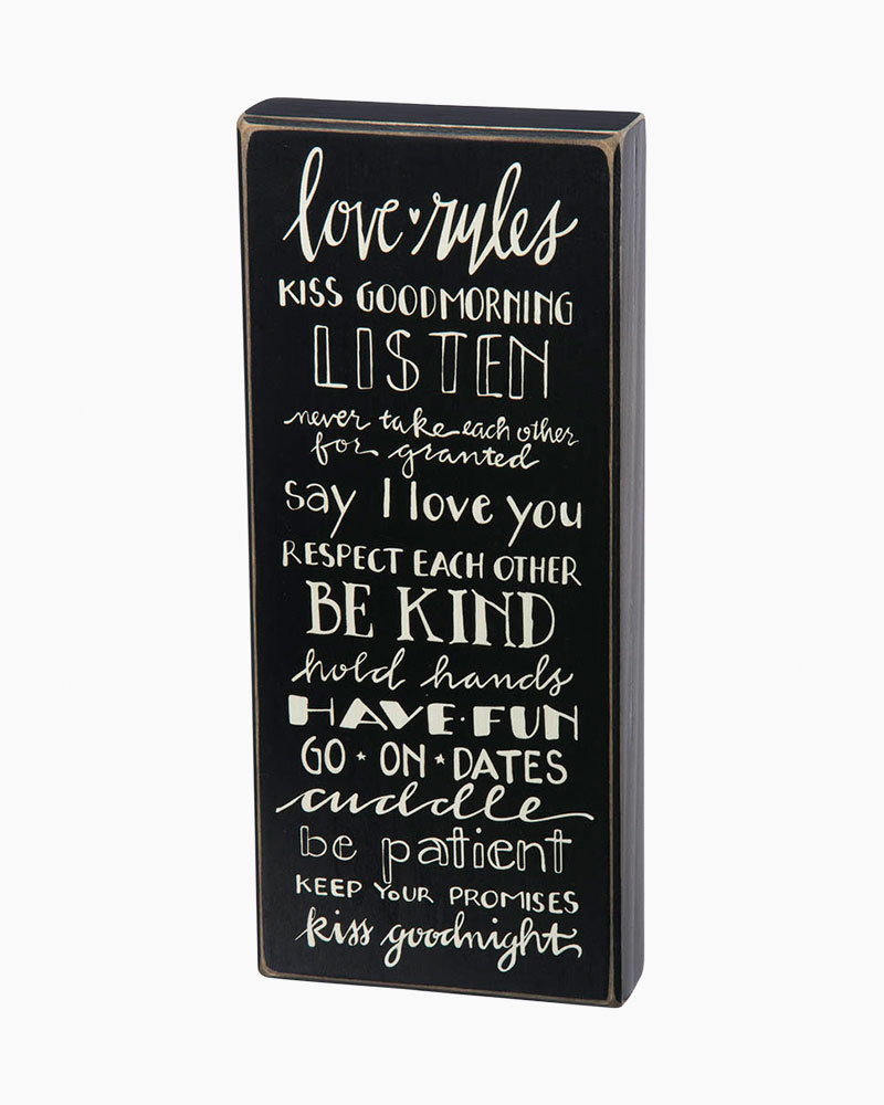 Primitives by Kathy Love Rules Wooden Box Sign