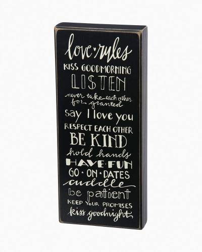 Love Rules Wooden Box Sign