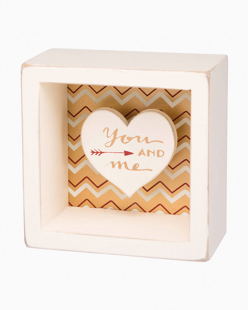 Primitives by Kathy You and Me Heart Cutout Wooden Box Sign