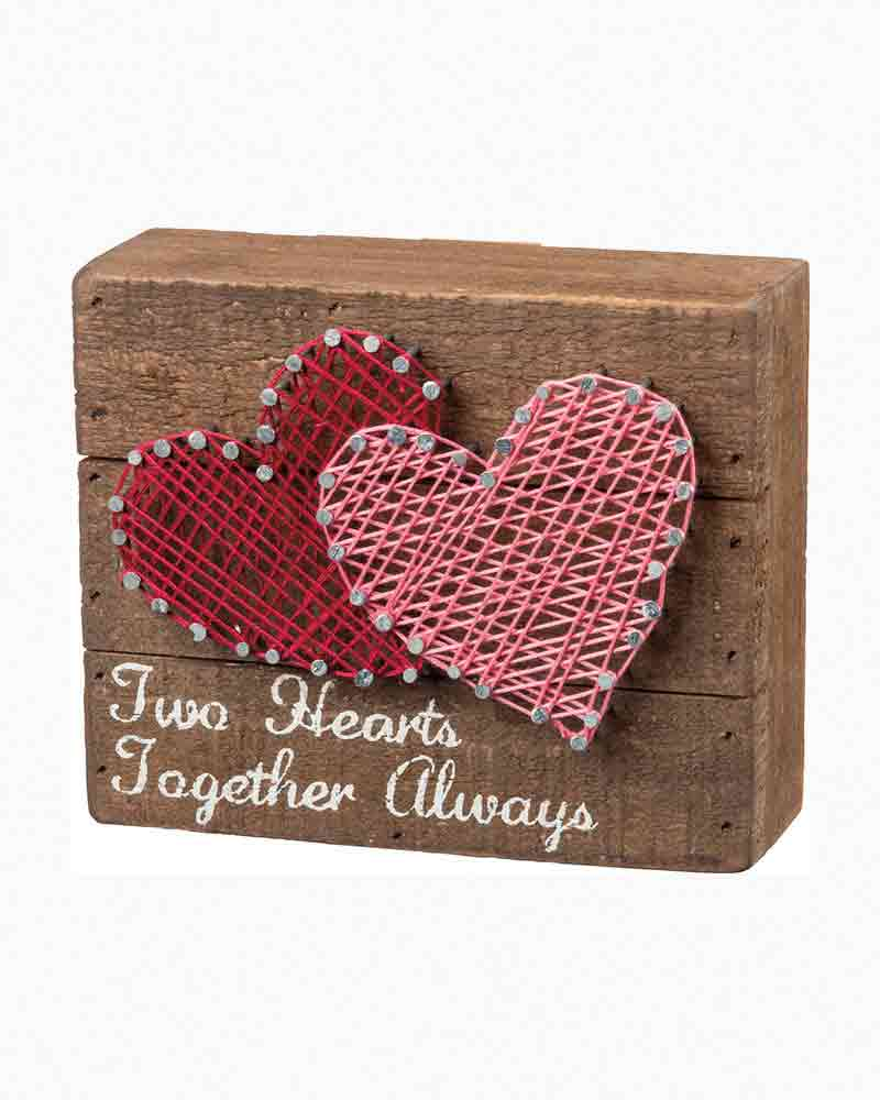 Primitives by Kathy Two Hearts String Art Wooden Sign