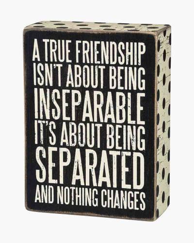 True Friendship Wooden Box Sign