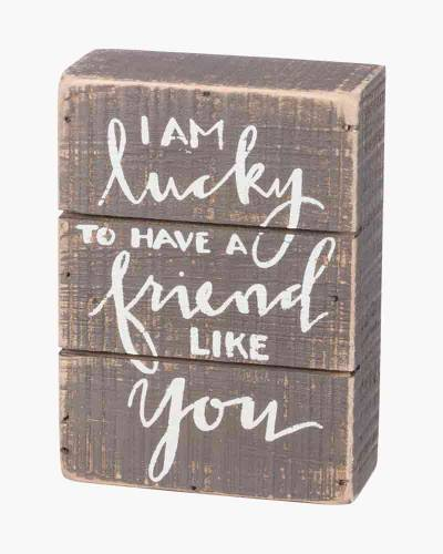 Lucky to Have a Friend Like You Wooden Box Sign