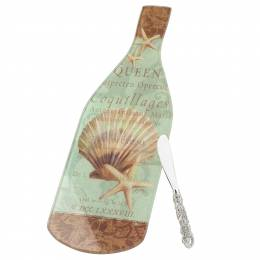 Counter Art Coastal Charm Wine Bottle Glass Cheese Board and Spreader