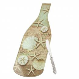 Counter Art Linen Shells Wine Bottle Glass Cheese Board and Spreader